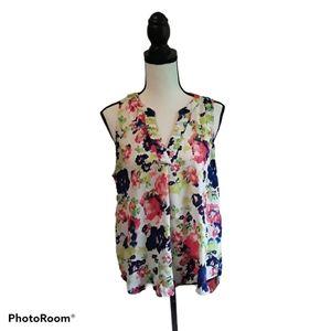 4/$25 Society Girl Floral Split Neck Blouse